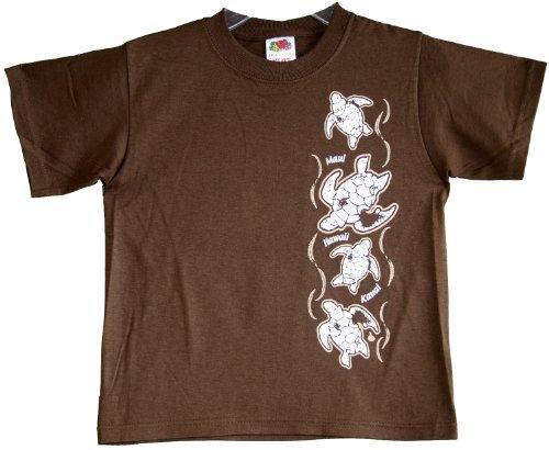 Kids Vertical Honu Turtle Hawaiian Aloha Pre-Shrunk Premium Quality Cotton T-shirt in Chocolate - - Chocolate Shirt Aloha Hawaiian