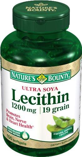 Nature Bounty Ultra lécithine de soja, 1200mg, 100 gélules (Pack de 4)