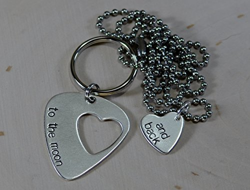 Couples necklace and keyring guitar pick and heart in sterling silver (Guitar Necklace Silver Sterling Pick)