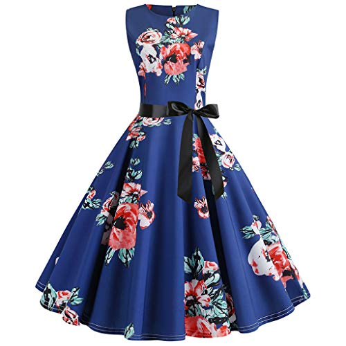 DORIC Vintage 1950s Retro Sleeveless O Neck Print Evening Party Dresses for Women Classic Prom Swing Dress
