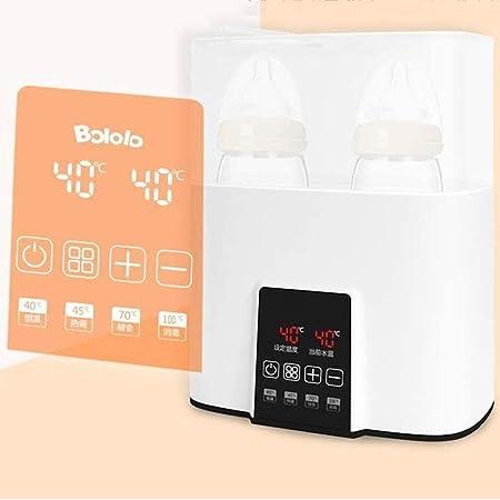 AQWER Calienta biberones, esterilizador de vapor eléctrico Botella y secadora, 4 en 1 Desinfección Pot gabinete, pantalla LED del calentador de alimentos, botellas dobles de diseño (Color: Blanco), Co