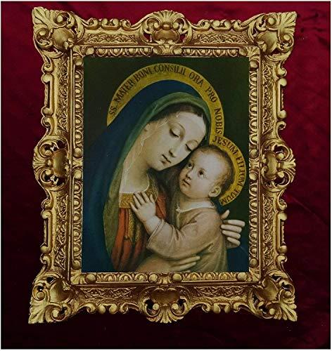 P Sarullo Maria Barock - Cuadro de pintura religiosa (45 x 38 cm), diseno antiguo de Boni Consili Oro Pro Nobis Jesum