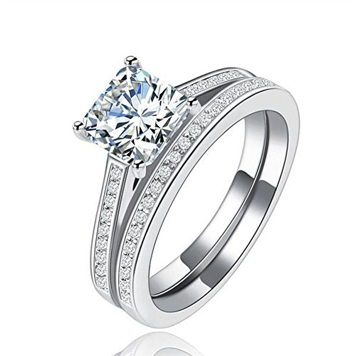 Tenfit Sterling Silver 2PCS Princess Cut CZ Bridal Engagement Wedding Halo Ring Set,Size:8