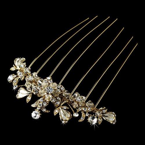 Patrizia Alluring Rhinestones & Swarovski Crystals Wedding Bridal Hair Comb Gold