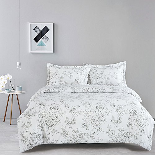 Vintage Flower Patterns (White Floral Duvet Cover Set, Vintage Flowers Pattern Printed, Soft Microfiber Bedding with Zipper Closure (3pcs, Queen Size))