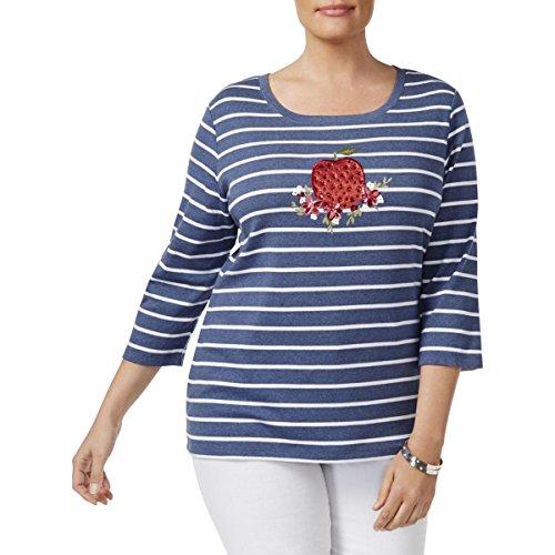 Karen Scott Womens Plus Apple Glitter Striped Sweatshirt Blue 2X from Karen Scott