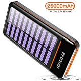 Solar Power Bank 25000mAh Portable Charger Battery High Capacity with Digital Display LCD Screen, 3 USB Output & 2 Input, Compatible Smartphone, Tablet and More