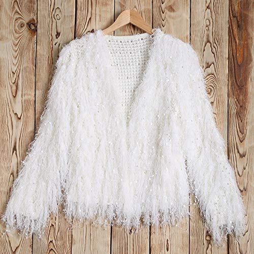 Invernale Elegante Giubbotto Maglione Corta Capispalla Beautyjourney Autunnale Giacca Autunno ElegantiPaillettes Bianco Donna Giacche Pelliccia Inverno tQdChsr