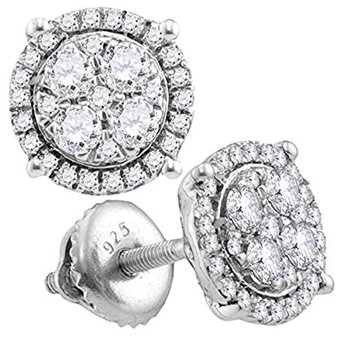 (Roy Rose Jewelry 10K White Gold Womens Round Diamond Circle Cluster Earrings 1/2-Carat tw)