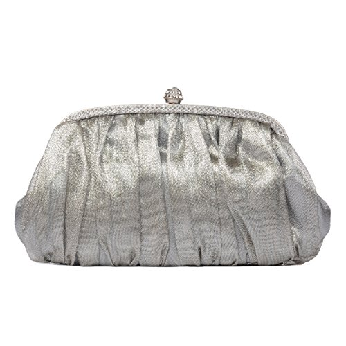 LOOSLOON Womens Vintage Satin Pleated Evening Cocktail Wedding Party Purse Handbags/ Clutches (Clutch Silver Leather Handbags)