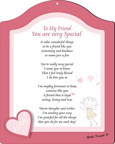 Rikki Knight to My Friend You are Very Special-Happy Cute Girl with Hearts Poem Plaque, 8x10, Pink from Rikki Knight