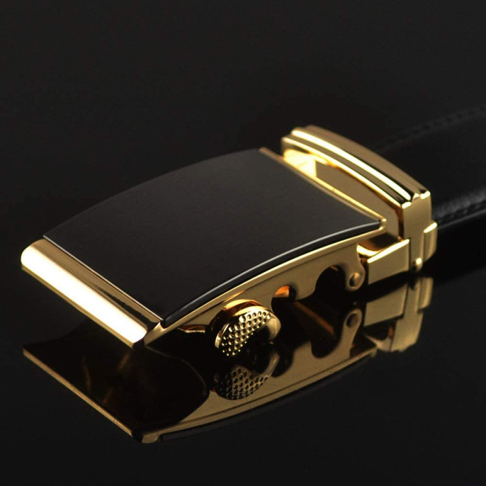 DENGDAI Mens Belt Leather Automatic Buckle Two Layer Leather Belt Leisure Belt Length 100-135cm