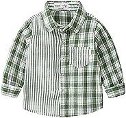 Lemohome Toddler Kid Boy Long Sleeve Plaid Striped Button Down Shirt