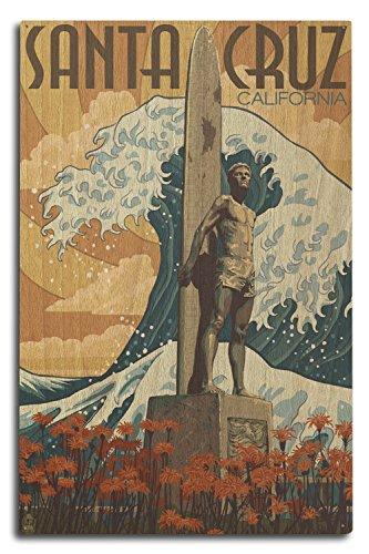 Lantern Press Santa Cruz, California - Surfer Statue (10x15 Wood Wall Sign, Wall Decor Ready to Hang)