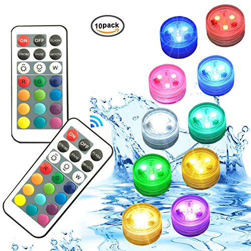 Melon Boy Submersible Battery Led Lights with Remote Control for Patio,Swimming Pool,Hot tub,spa,Shower,Fish Tank,Bathtub,Aquarium,vase,Centerpieces and Accessories for Home Party Decoration
