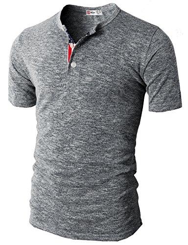 H2H Men's Fashion Flag Henley Short Sleeve Summer T-Shirt Gray US S/Asia M (CMTTS0172)