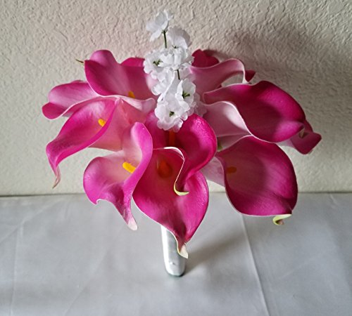 Fuchsia Calla Lily Bridal Wedding Bouquet & Boutonniere