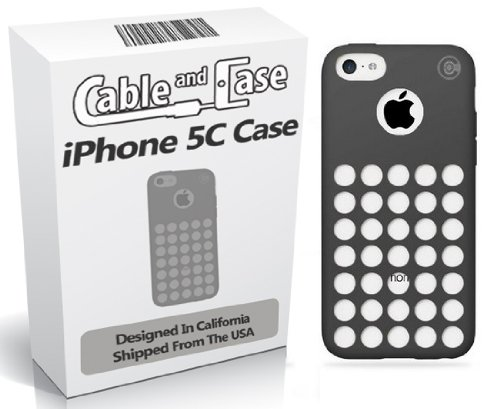 Circle Dots Phone (Cable and Case Circle Dot Holes Soft Skin Case for iPhone 5C - Retail Packaging - Black)