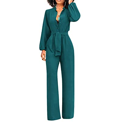 CleoBoutique One Piece Women's Sexy Palazzo Dressy Jumpsuits with Elegant Classy Hot V Neck Wide Leg Long Sleeve Belted: Shoes