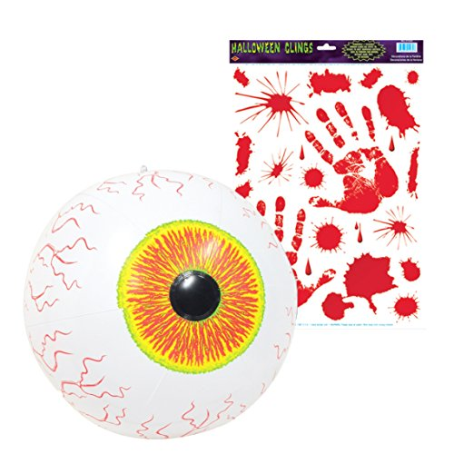 Scariest Halloween Decoration (Beistle Inflatable Eyeball with Bloody Handprint Clings)