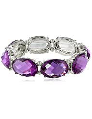 "1928 Jewelry ""Jeweltones"" Oval Faceted Stretch Bracelet"