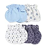 Cribmates Baby Big Boys' 4-Pack Scratch Mittens - navy/multi, one size