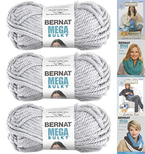 Bernat Mega Bulky Yarn 7.0 Ounce, 3 Pack Bundle, Jumbo #7 Acrylic (Light Grey Heather)