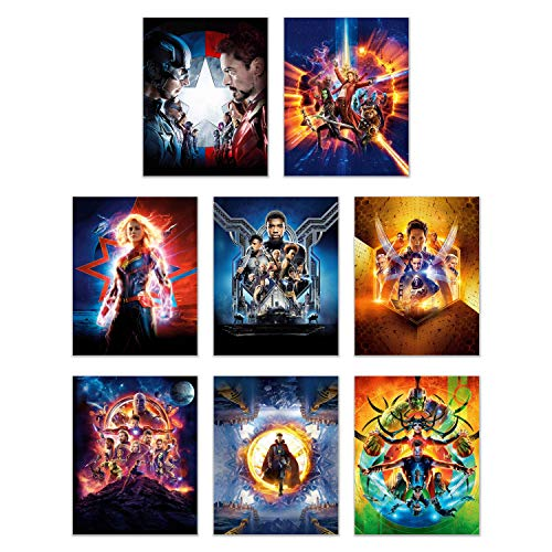 Ultimate Marvel Avengers Poster Pack -Set of 8 (11 inches x 14 inches) Prints - Infinity War Prints - Captain Marvel -