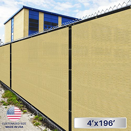 4' x 196' Privacy Fence Screen in Beige Tan with Brass Gr...