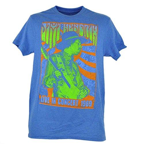Jimi Hendrix Live In Concert 1969 Graphic Tshirt Music Musician Blue Tee 2XLarge