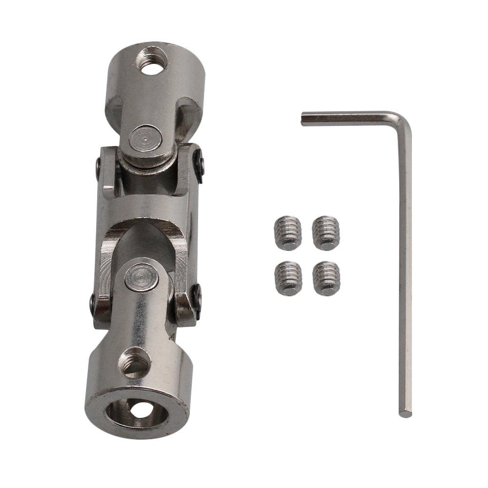 BQLZR - Acoplador universal de eje de acoplamiento para motor de 8 mm-8 mm ID plata 45#acero, con tornillos de llave hexagonal M4180626020
