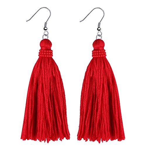 KELITCH Tassel Earrings Bohemian Tiered Thread Tassel Dangle Earring for Women Girls