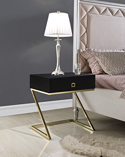 Iconic Home Gonzalo Nightstand Side Table with Self Closing Drawer Ash Veneer Brass Finished Metal Z Frame, Modern Contemporary, Black
