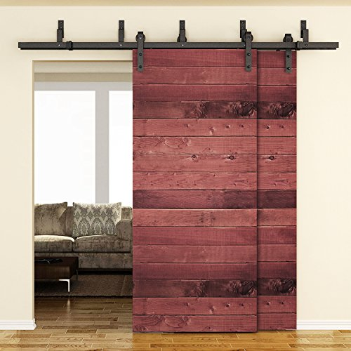 SMARTSTANDARD 6.6FT Bypass Double Door Sliding Barn Door Hardware (Black) (J Shape Hangers) (2 x 6.6 foot Rail)