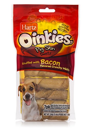 HARTZ Oinkies Smoked Pig Skin Twist Bacon Stuffed Dog Treat Chews - 7 (Bacon Skin Twists)