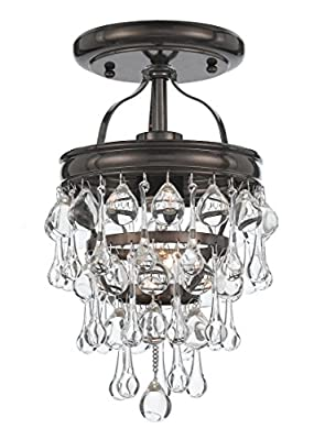 Crystorama 131-VZ_CEILING Crystal One Light Semi-Flush from Calypso collection in Bronze/Darkfinish,