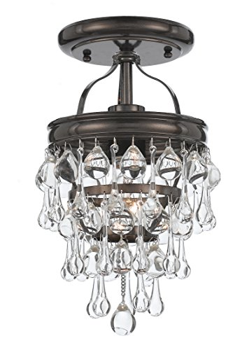 Lighting Heart Transitional Chandelier (Crystorama 131-VZ_CEILING Crystal One Light Semi-Flush from Calypso collection in Bronze/Darkfinish,)