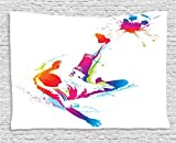 Sports Decor Tapestry, Soccer Man Kicks the Ball in the Air Digital Watercolors Success Energy Feet Illustration, Wall Hanging for Bedroom Living Room Dorm, 60 W X 40 L Inches, Multicolor