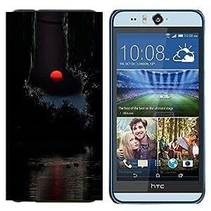 EJOOY---Cubierta de la caja de protección para la piel dura ** HTC Desire Eye M910x ** --Luna Red Sunset Océano Agua