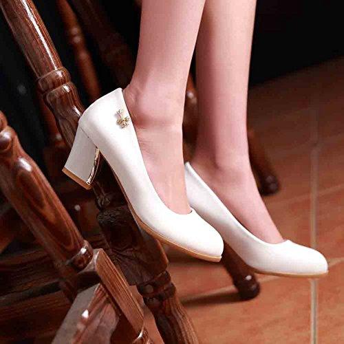 Zapatillas De Tacón Alto Easemax Para Mujer, De Punta Redonda, Corte Bajo, Tacón Medio, Blanco