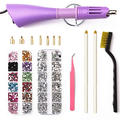 Hotfix Applicator,DIY Hot Fix Rhinestone Setter Applicator Wand Tool Kit Set with 7 Tips,Tweezers,Cleaning Brush and 2 Pack Hot-Fix Rhinestone Crystal Embellishments by DaBuLiu
