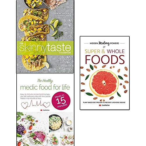 Book cover from skinnytaste cookbook, hidden healing powers of super & whole foods and healthy medic food for life 3 books collection set - light on calories, big on flavor by Gina Homolka