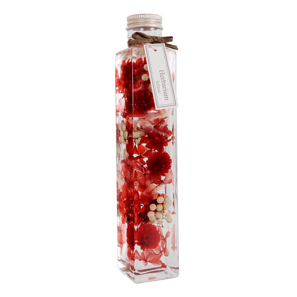 ハーバリウム 角瓶(1本) レッド(赤)