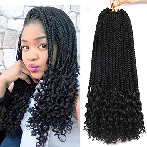 7 Packs 18 Inches Box Braids with Curly Ends Crochet Braids Hair Extensions Synthetic Box Braid Crochet Hair Loose Wavy Free Ends (1B#)