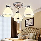Modern Simple Living Room Bedroom Light Romantic Warm Child Light Creative Art Restaurant LED Ceiling Light, 3 head