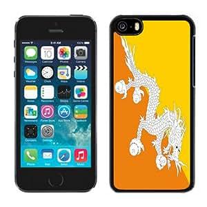 NEW Fashion Custom Designed Cover Case For iPhone 5C Bhutan Flag Black Phone Case