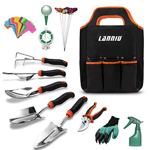 LANNIU Garden Tool Set, 27 Piece Stainless Steel Heavy Duty Gardening Tool Set, Gardening Tools for Women/Grandparents/Parents (Gardening Tools Of)