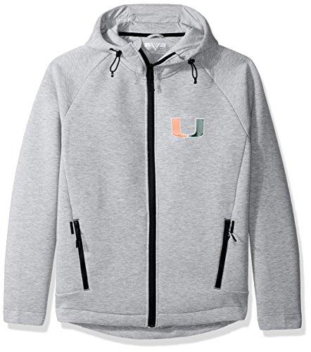 Levelwear LEY9R NCAA Miami Hurricanes Adult Men Titan Insignia Full Zip Hooded Jacket, Small, Heather Pebble