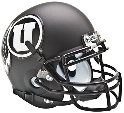 Schutt NCAA Utah Utes Collectible Alt 2 Mini Helmet, Matte Black/White
