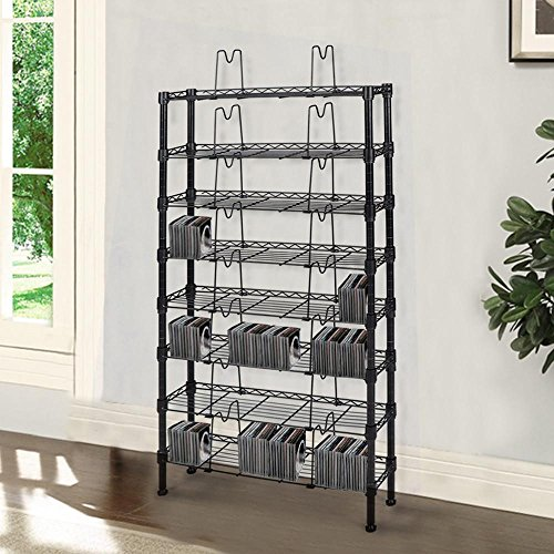 Topeakmart 8 Tier Steel Wire Shelving for 432 CDs/228 DVDs/120 VHS tapes Media Rack Black by Topeakmart